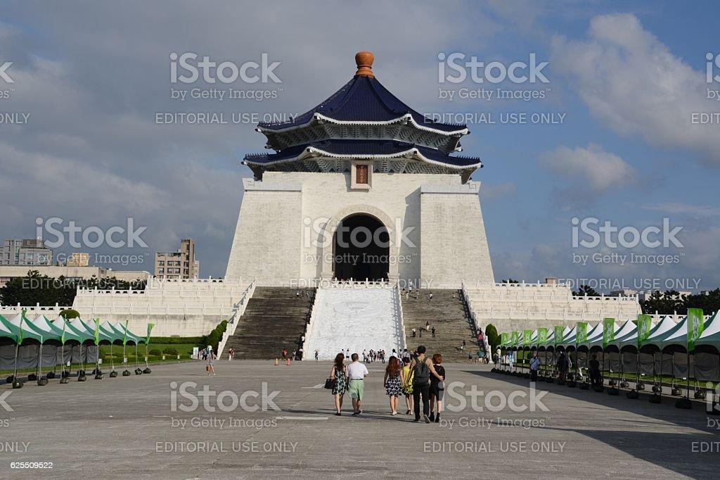 Tourists at Chiang Kai-shek Memorial Hall, Taipei, Taiwan stock photo