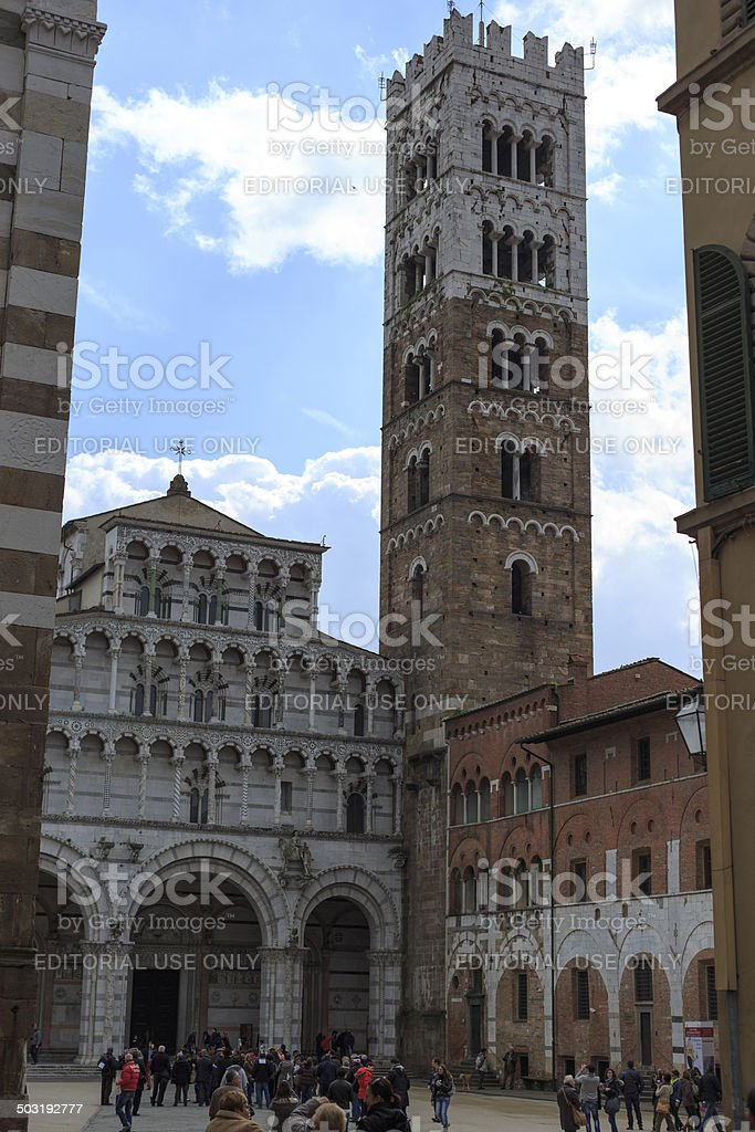Tourists at Church in Lucca Italy stock photo
