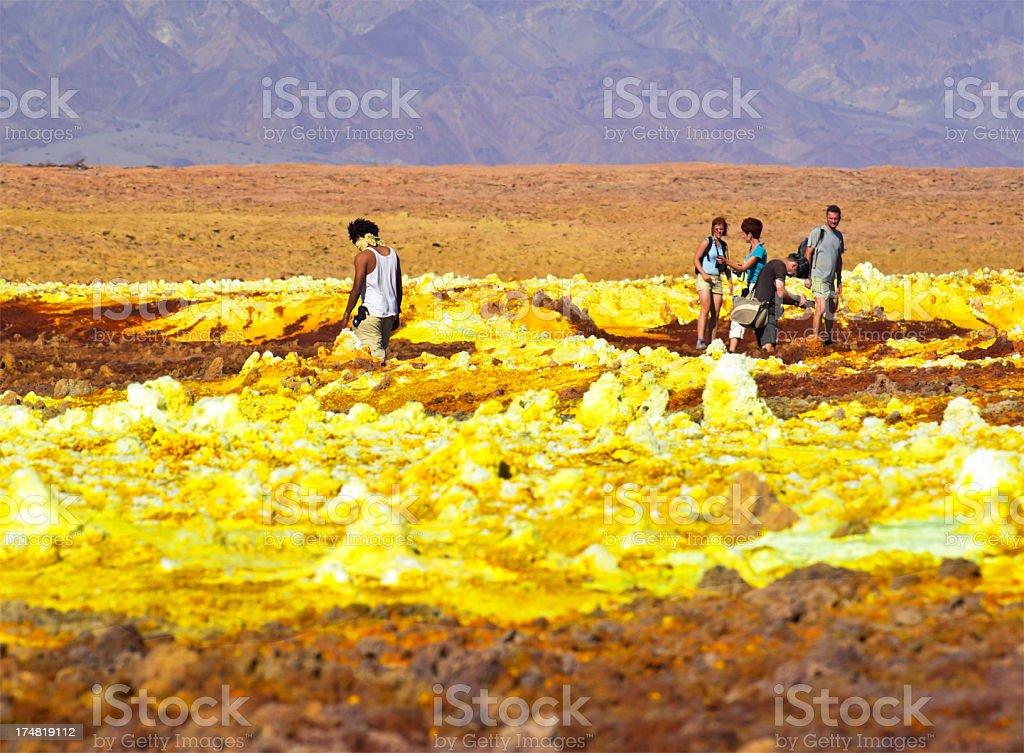 Tourists at Dallol stock photo