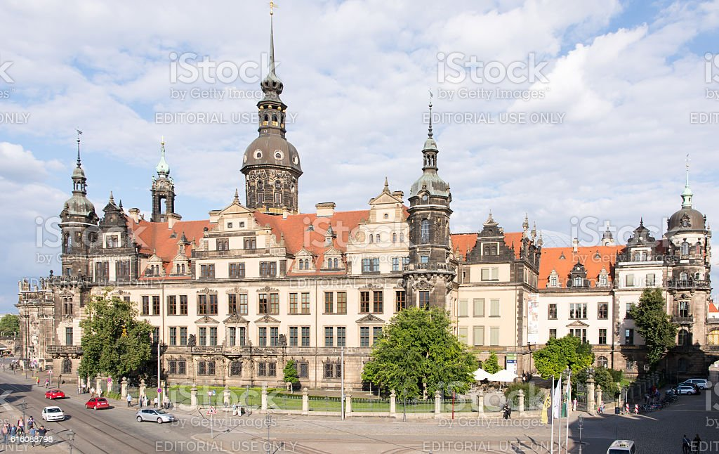 Tourists at Dresden Castle stock photo