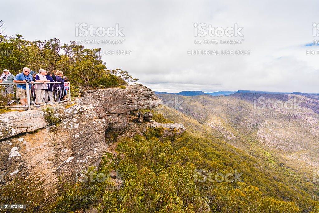 Tourists at Grampians National Park stock photo