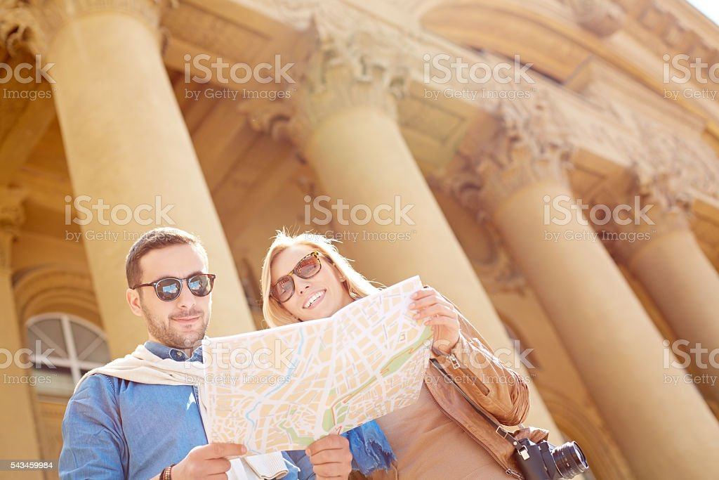 Tourists at historical place stock photo