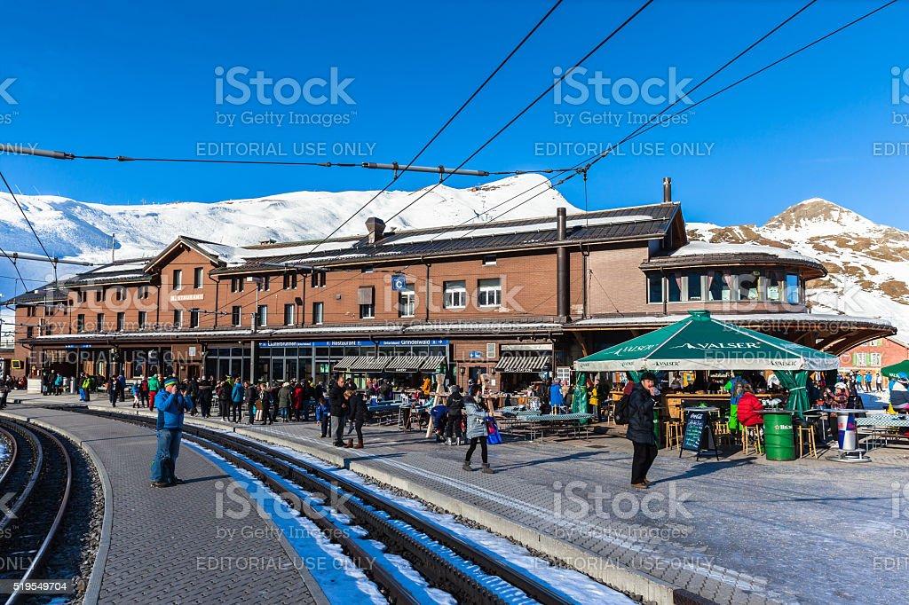 Tourists at Kleine Scheidegg station stock photo