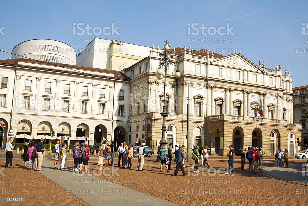 Tourists at La Scala Theatre stock photo