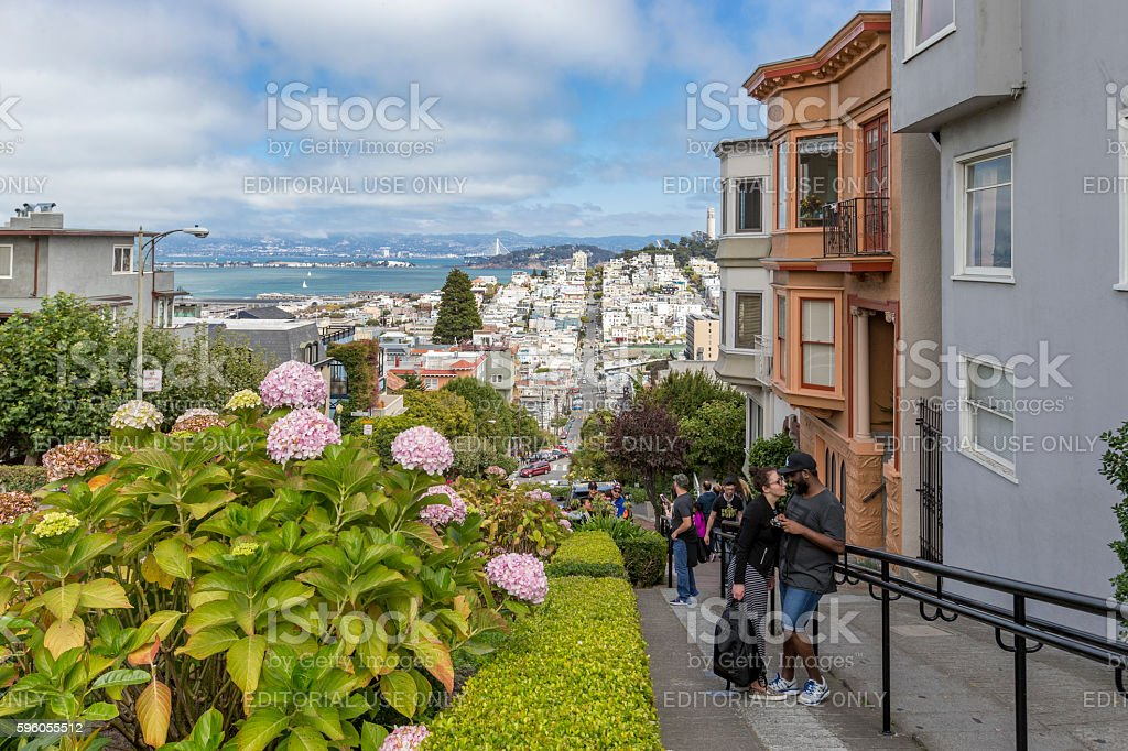 Tourists at Lombard Street of San Francisco, CA stock photo