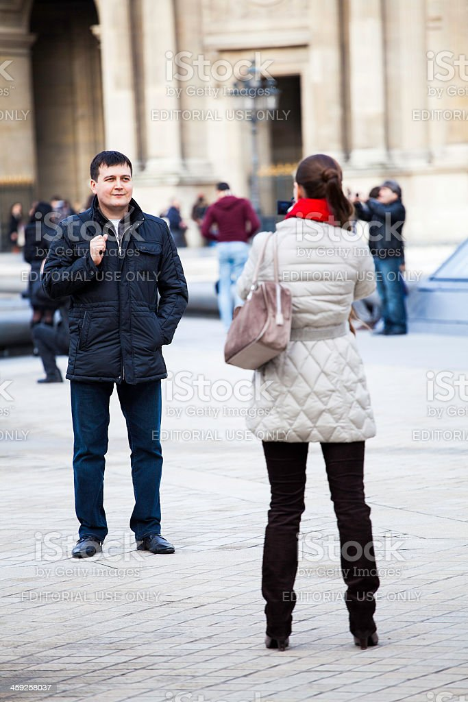 Tourists at Louvre Museum royalty-free stock photo