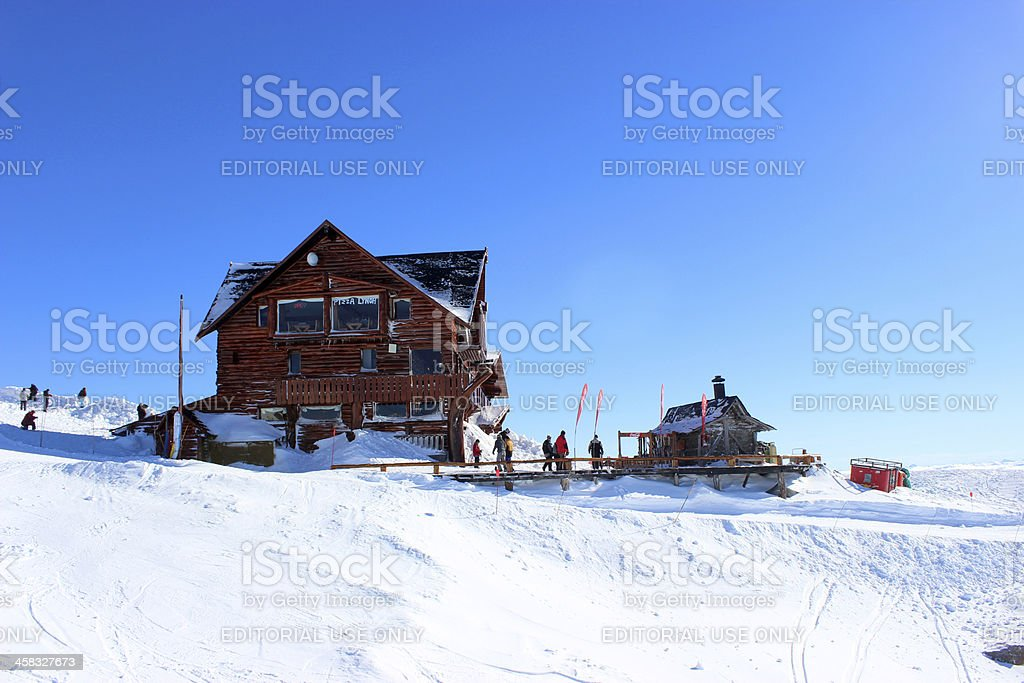 Tourists at Lynch Refuge 2- Top of Andes * Patagonia stock photo