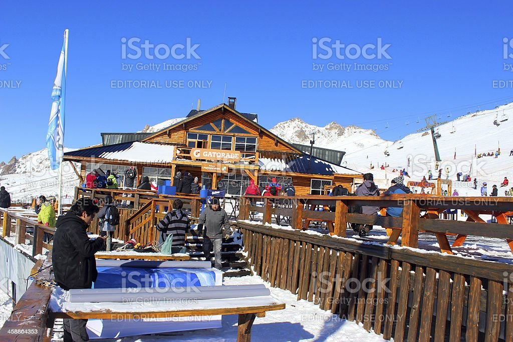 Tourists at Lynch Refuge 4- Top of Andes * Patagonia stock photo