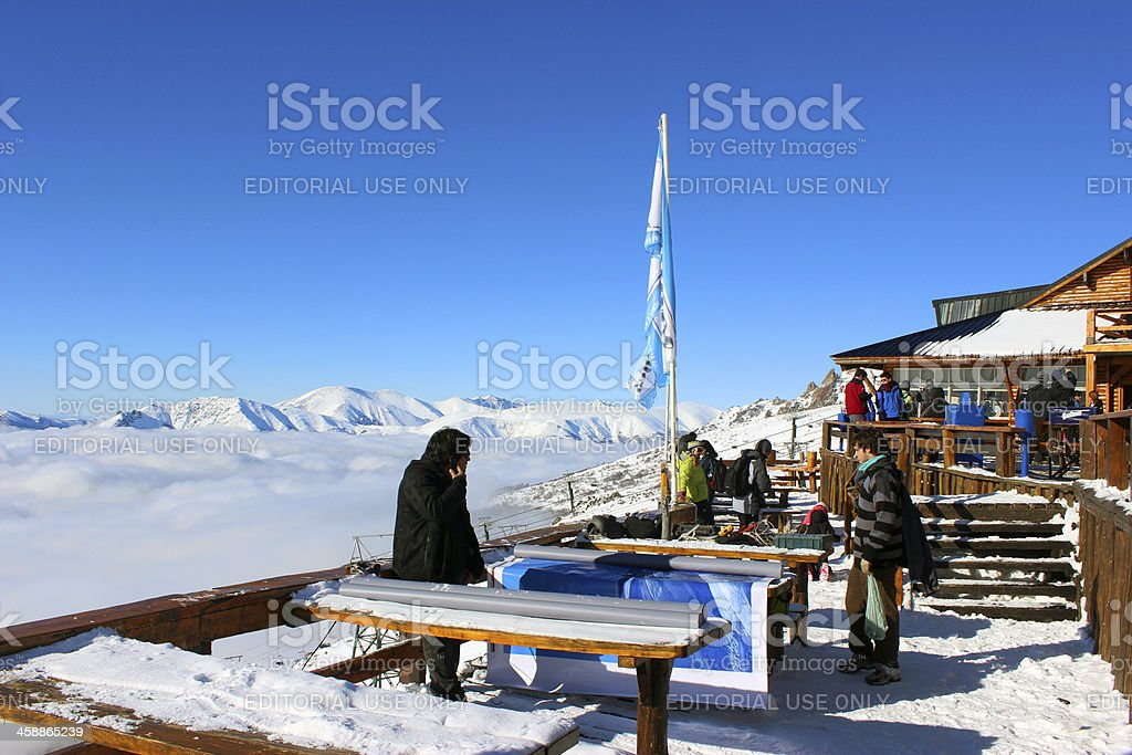 Tourists at Lynch Refuge 5- Top of Andes * Patagonia stock photo