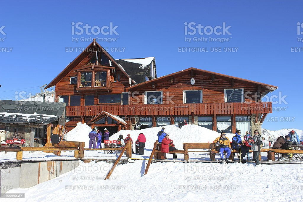 Tourists at Lynch Refuge - Top of Andes * Patagonia stock photo
