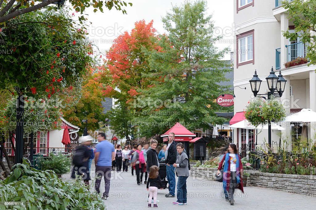 Tourists at Mont Tremblant resort village stock photo