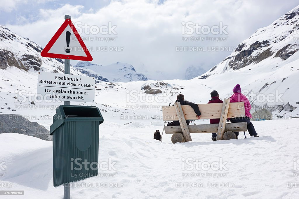 Tourists at Morteratsch Glacier stock photo