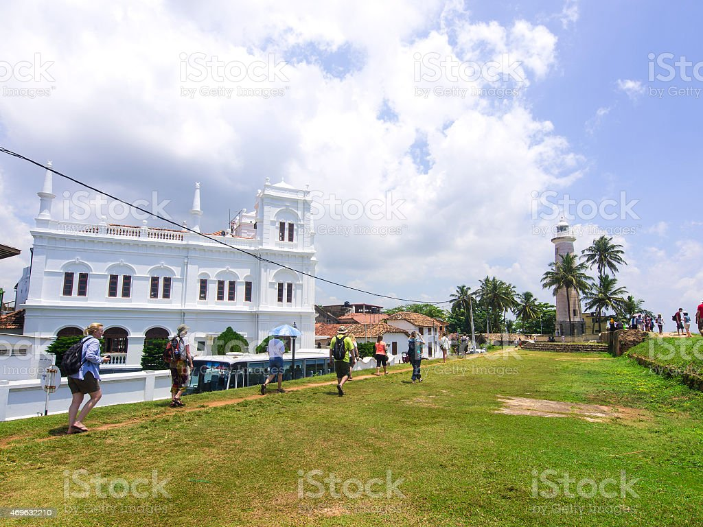 Tourists at old fort Galle in Sri Lanka stock photo