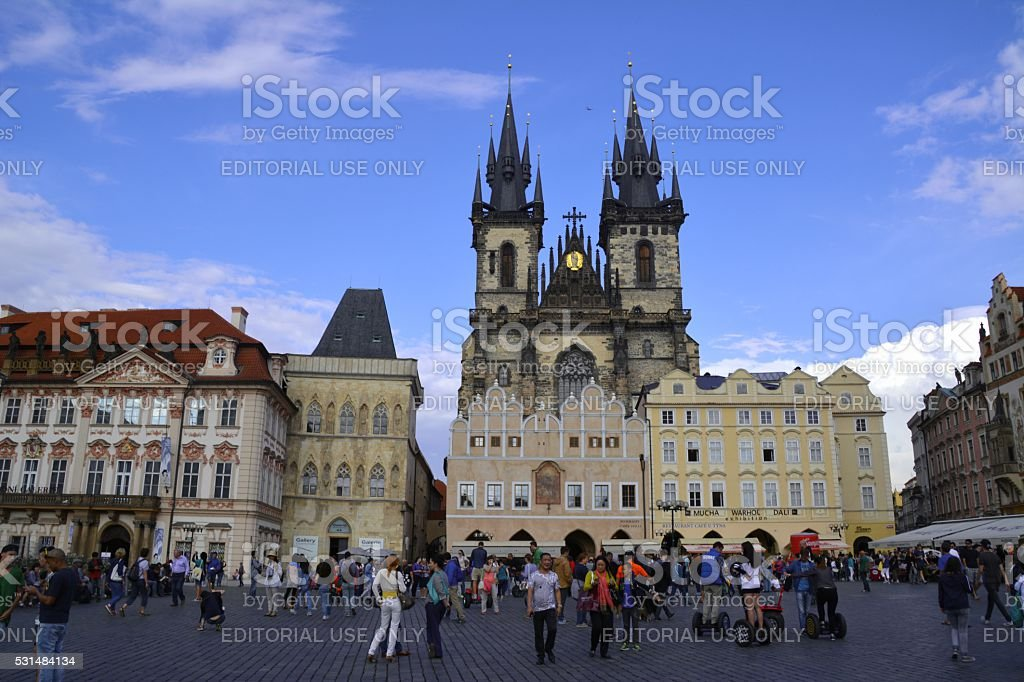 Tourists at Old town square, Prague, Czech Republic stock photo