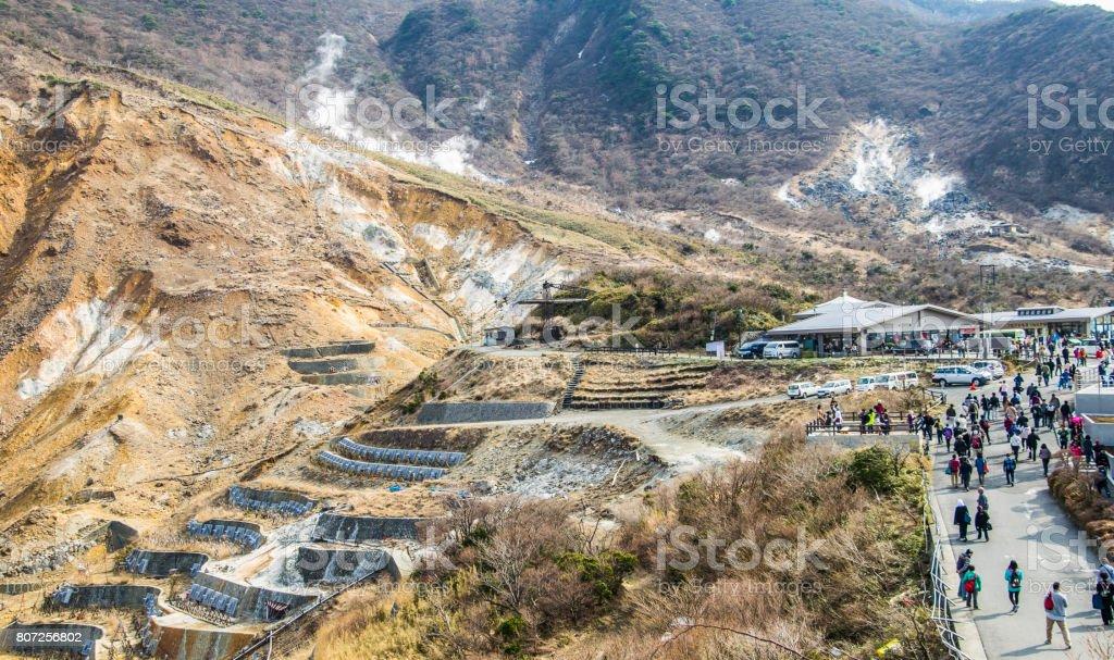 tourists at Owakudani, the volcanic area of Mt Fuji, Japan stock photo