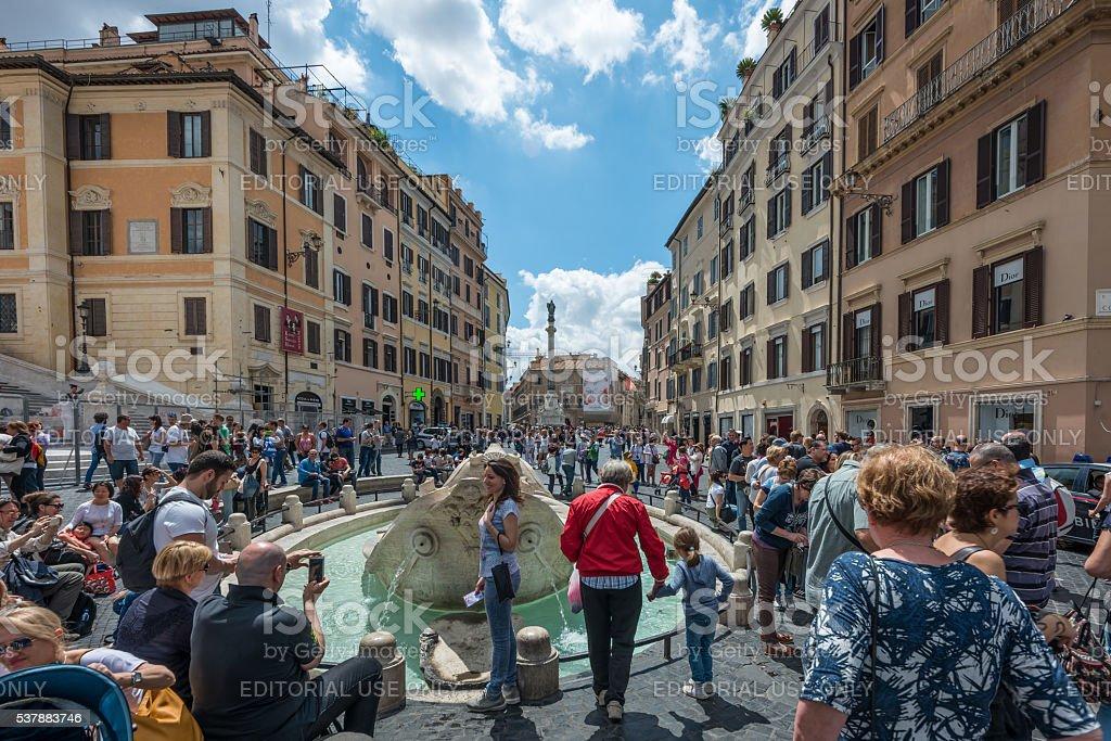 Tourists at Piazza di Spagna, Rome stock photo