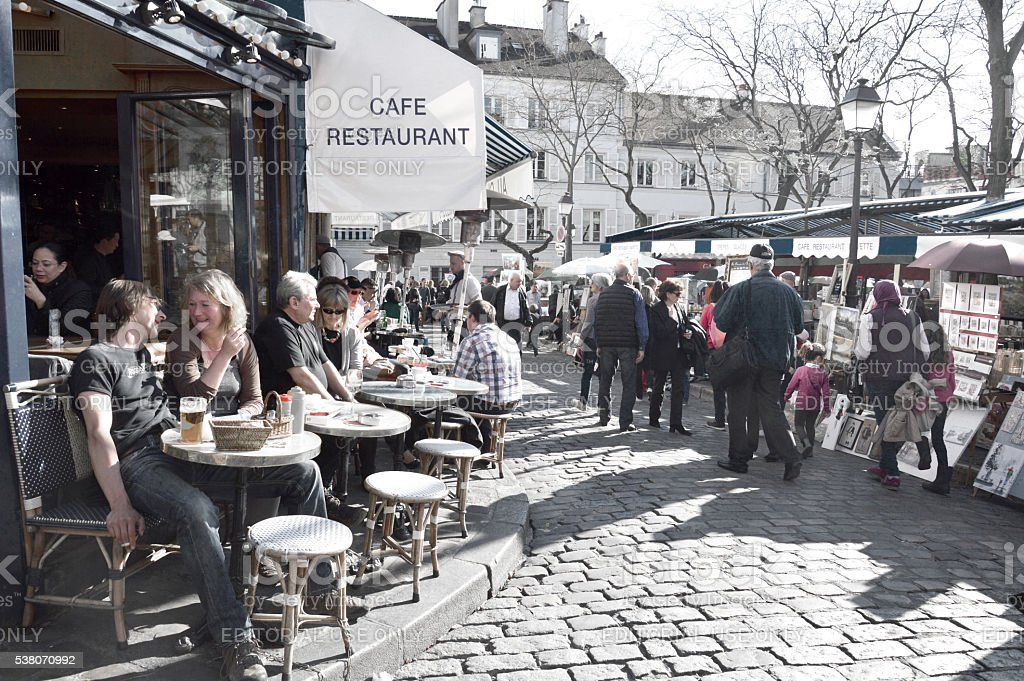 Tourists at Place du Tertre in Montmartre stock photo