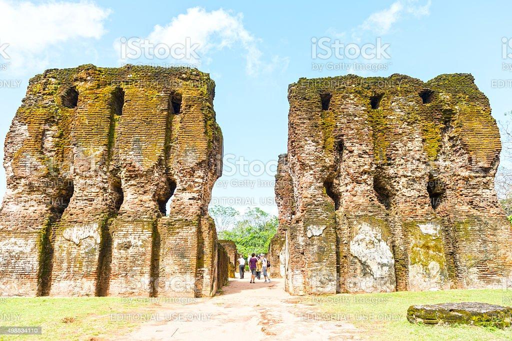 Tourists at Royal palace in Polonnaruwa, Sri Lanka stock photo