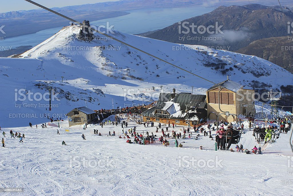 Tourists at Ski station on CERRO CATEDRAL stock photo