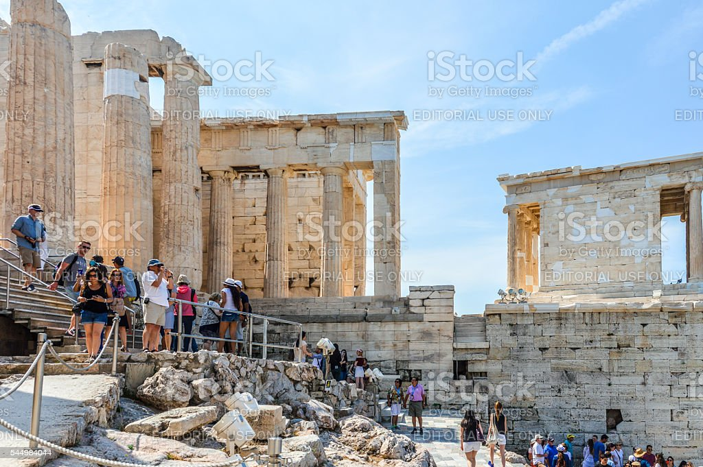 Tourists at the Acropolis - Athens, Greece stock photo