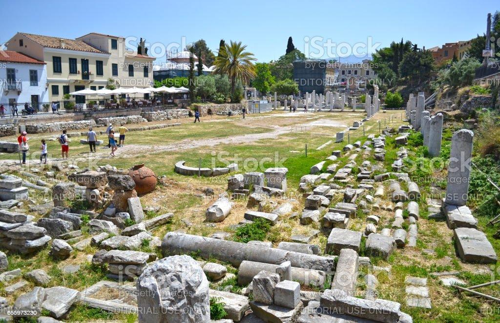 tourists at the ancient roman market Monastiraki Athens Greece stock photo