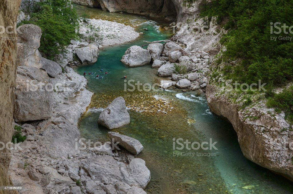 Tourists at the bottom of canyon Verdon during canyoning stock photo