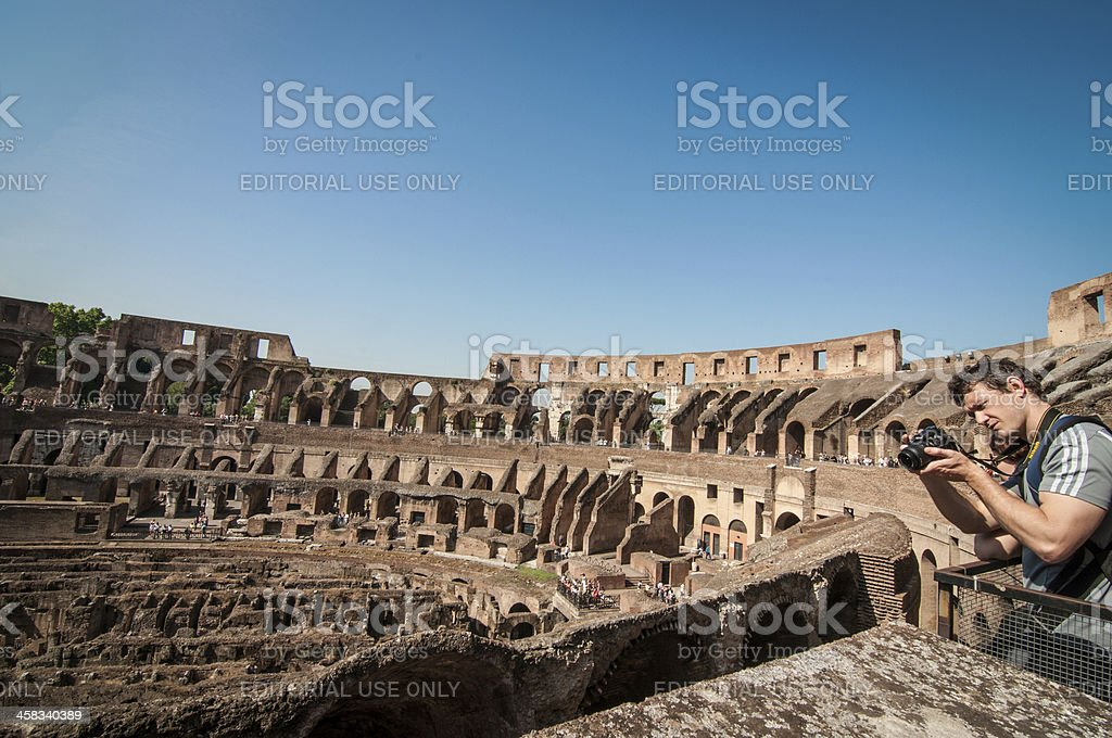 Tourists at the Colosseum, Rome, Italy royalty-free stock photo