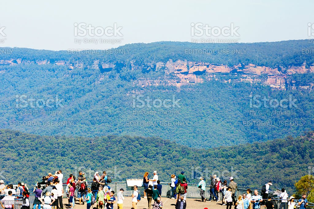Tourists at The Echo point lookout in Bue Mountains Australia stock photo