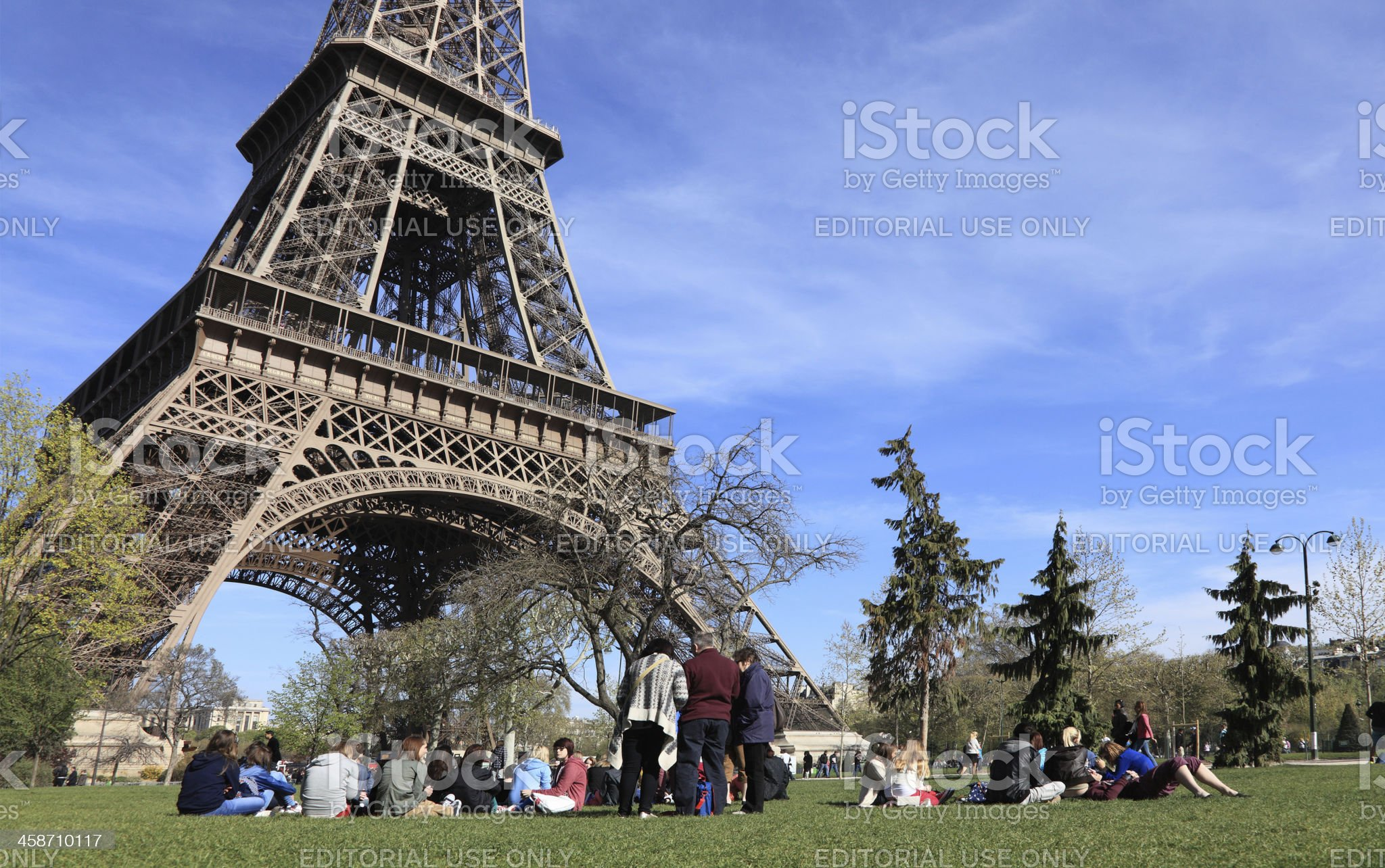 Tourists at the Eiffel Tower royalty-free stock photo