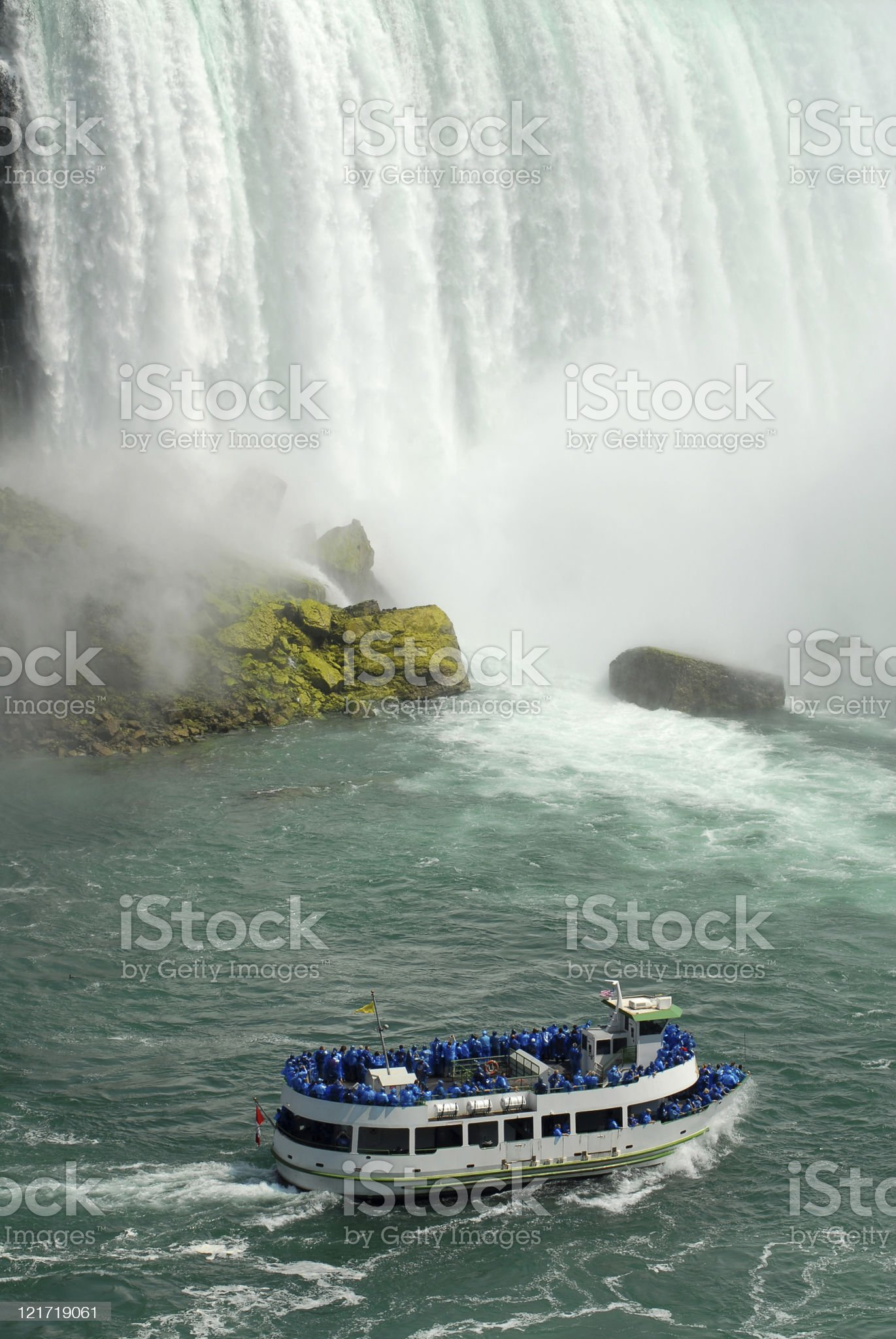 Tourists at the Foot of Niagara royalty-free stock photo