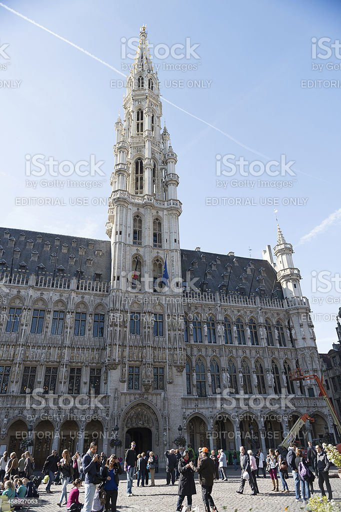 Tourists at the Grand Place in Brussels, Belgium stock photo