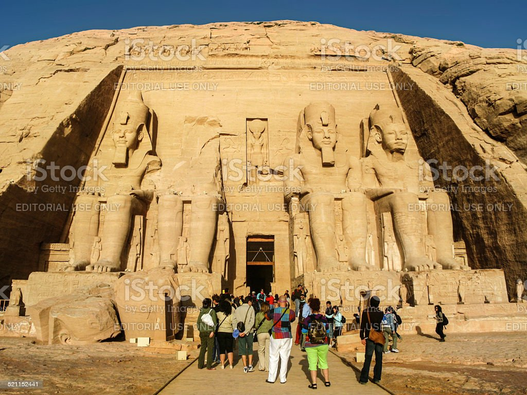 Tourists at the Great Temple at Abu Simbel, Egypt stock photo