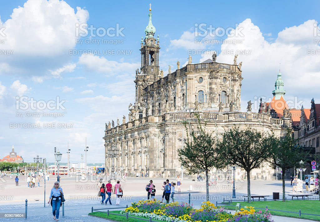 Tourists at the Hofkirche church in Dresden stock photo