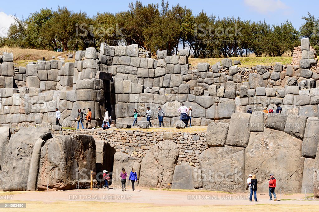 Tourists at the Incan archaelogical site of Saqsaywaman, Cusco, Peru stock photo