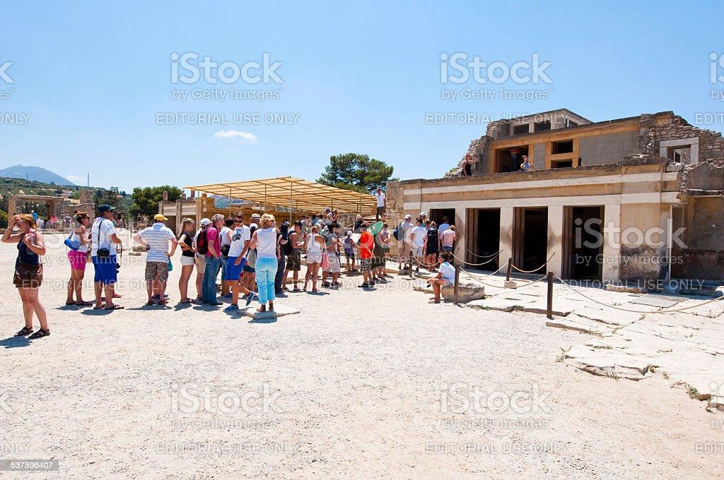 Tourists at the Knossos palace. Crete island, Greece. stock photo
