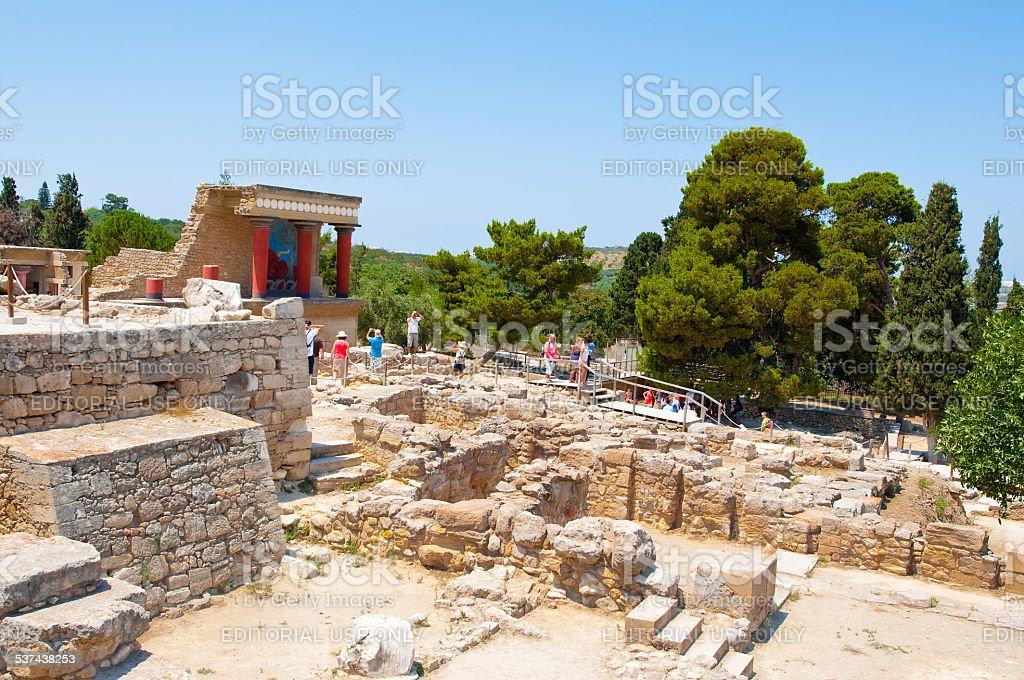Tourists at the Knossos palace on Crete,Greece. stock photo