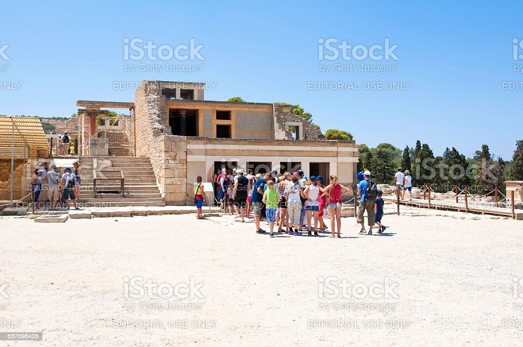 Tourists at the Knossos palace on the Crete island,Greece. stock photo