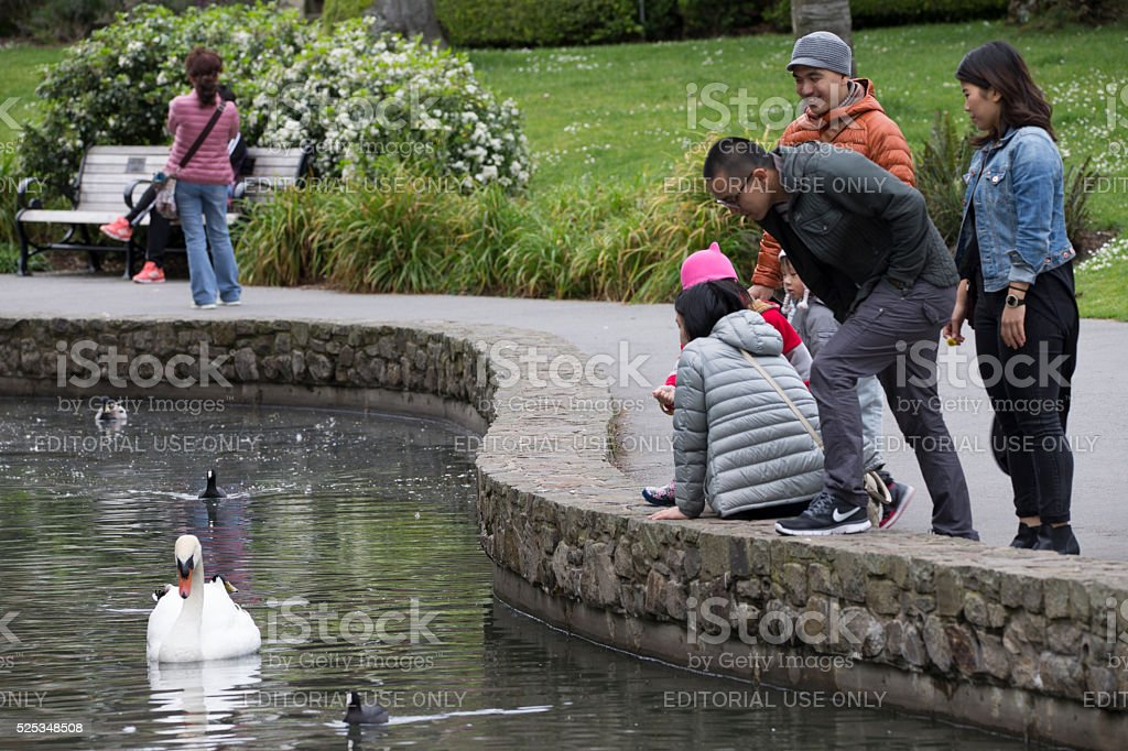 Tourists at the lake side of Palace of fine Arts stock photo