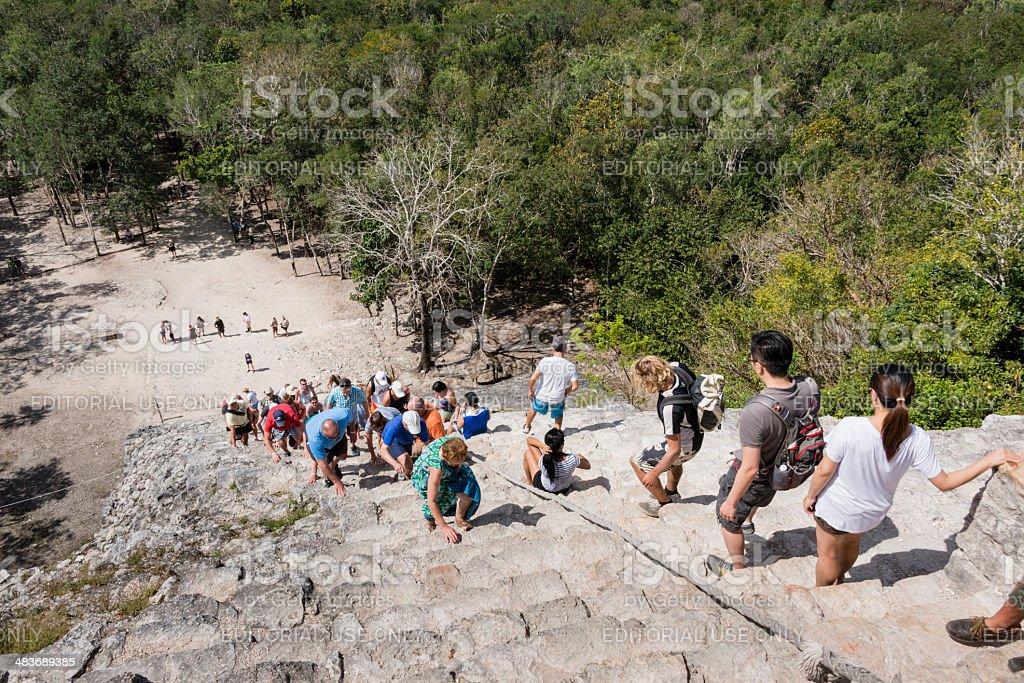 Tourists at the Mayan pyramid at Coba -XXXL stock photo
