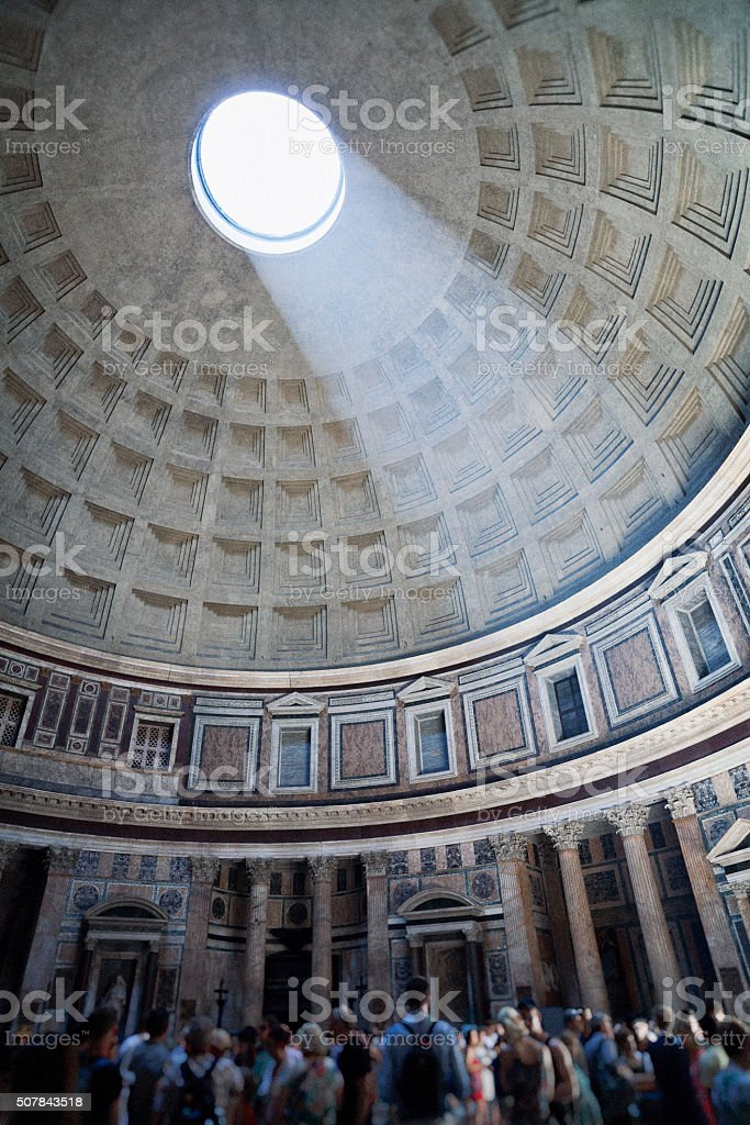 Tourists at the Pantheon in Rome, Italy stock photo
