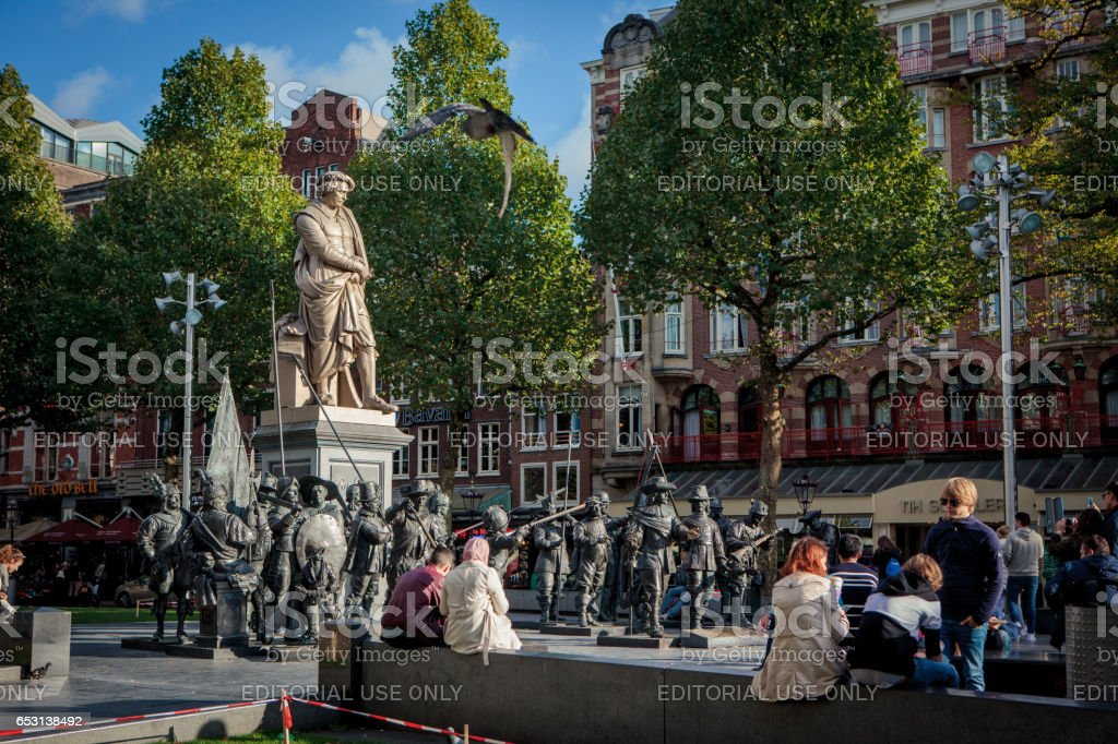 Tourists at the Rembrandtplein in Amsterdam, the Netherlands stock photo