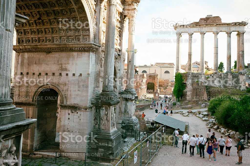 Tourists at the Roman Forum in Rome, Italy stock photo