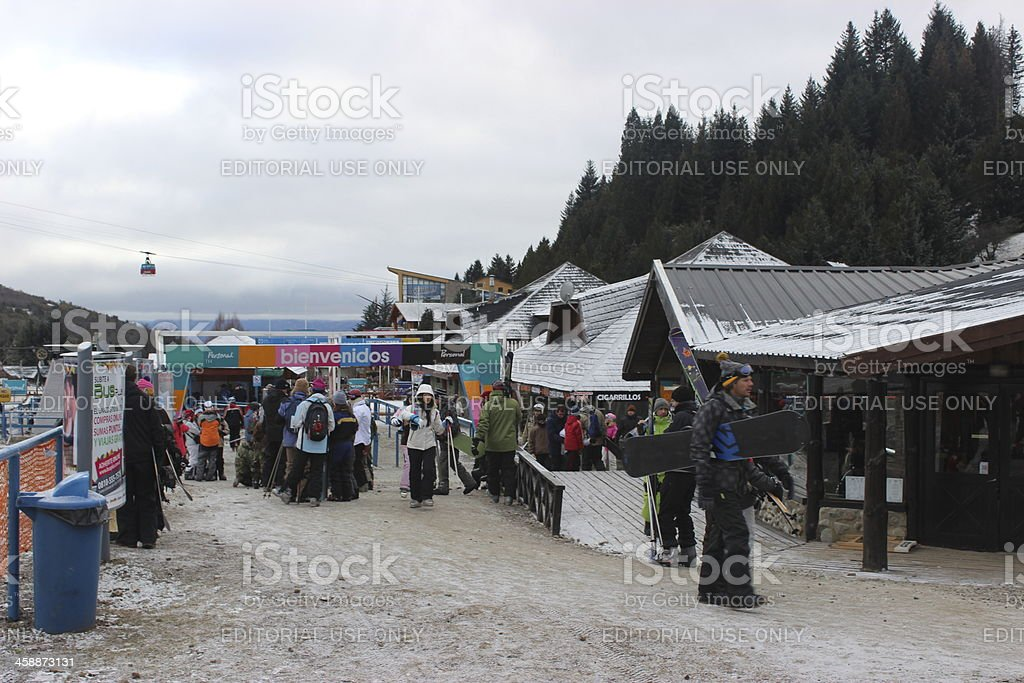 Tourists at the Ski Resort in CERRO CATEDRAL stock photo