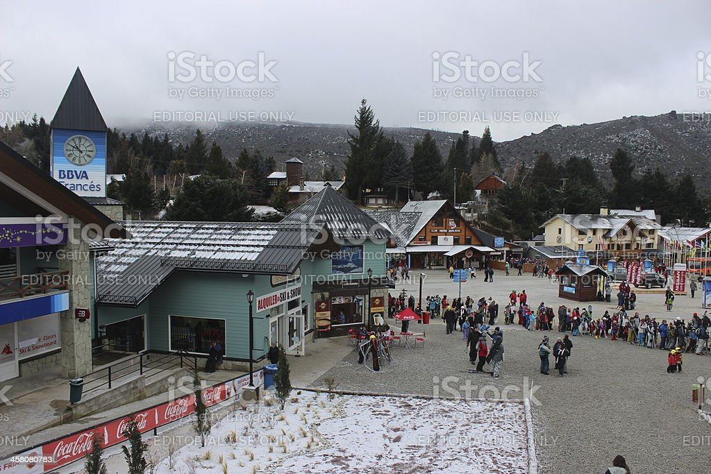 Tourists at the Ski Resort of CERRO CATEDRAL stock photo