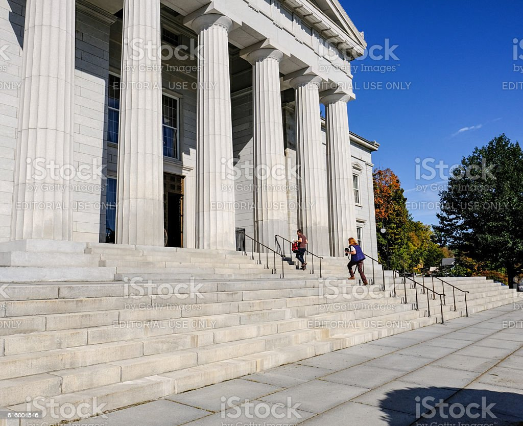 Tourists At The State House, United States stock photo