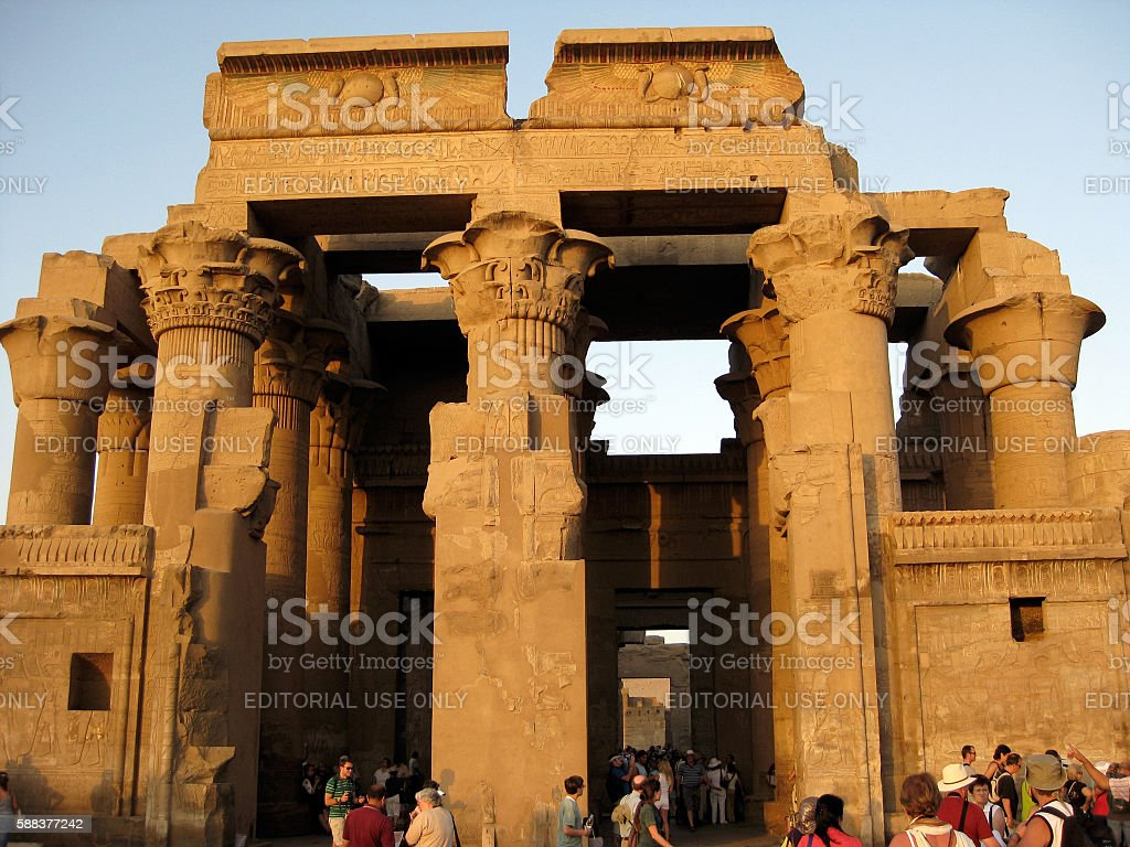 Tourists at the Temple of Kom Ombo, Egypt stock photo