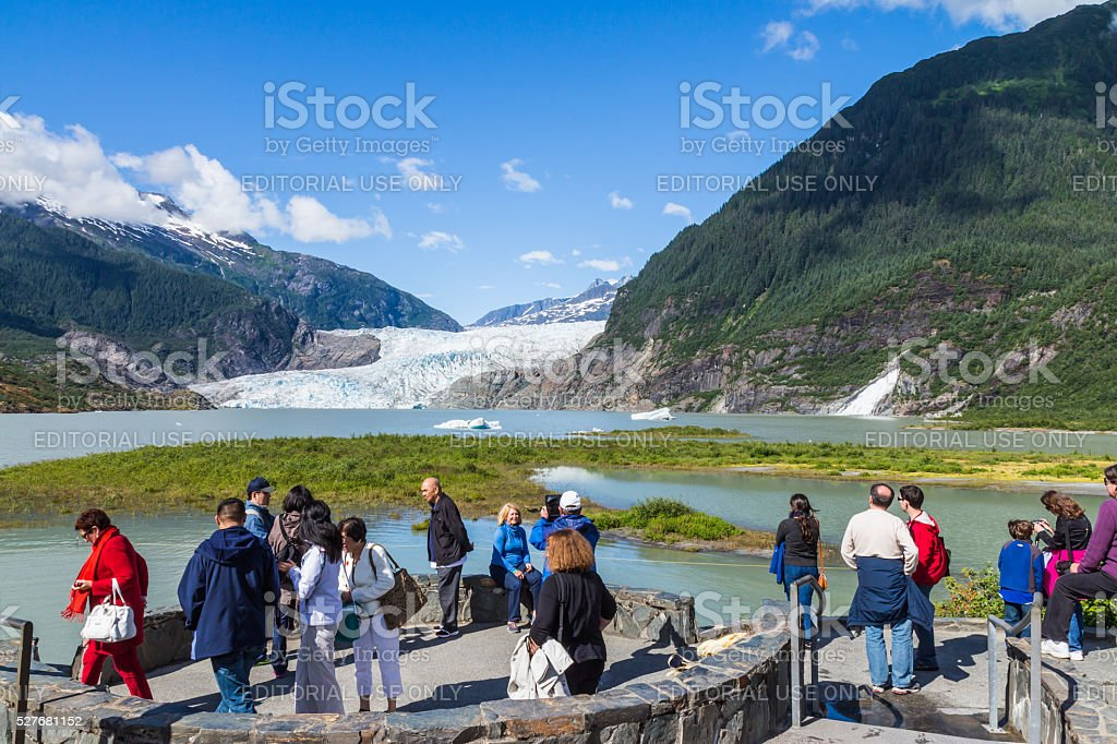 Tourists at the view point of Mendenhall Glacier stock photo