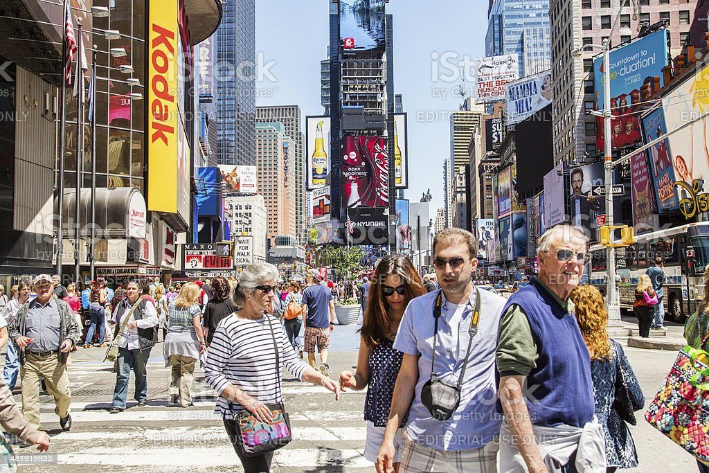 Tourists At Times Square, New York royalty-free stock photo