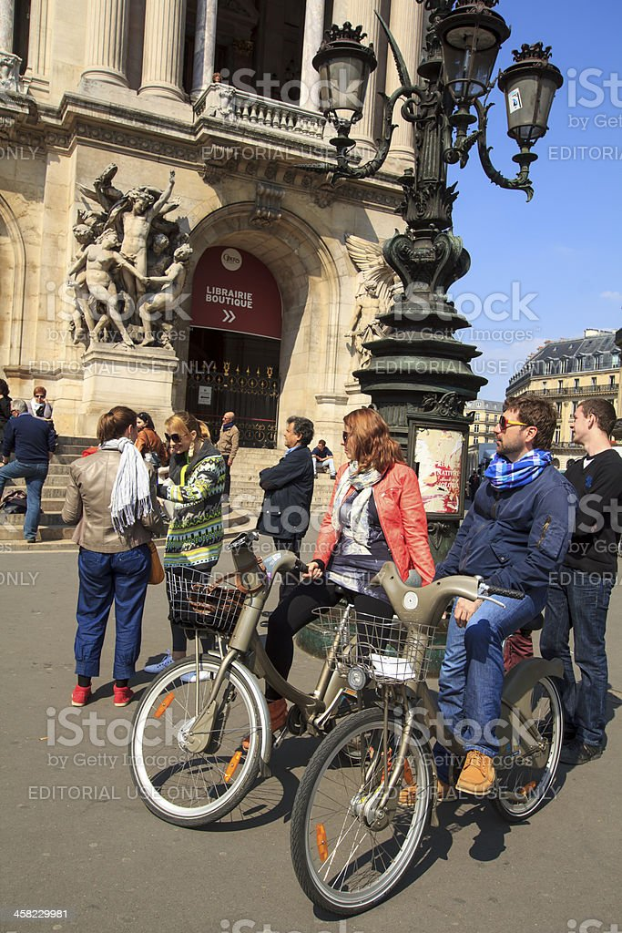Tourists at Velib in Paris stock photo