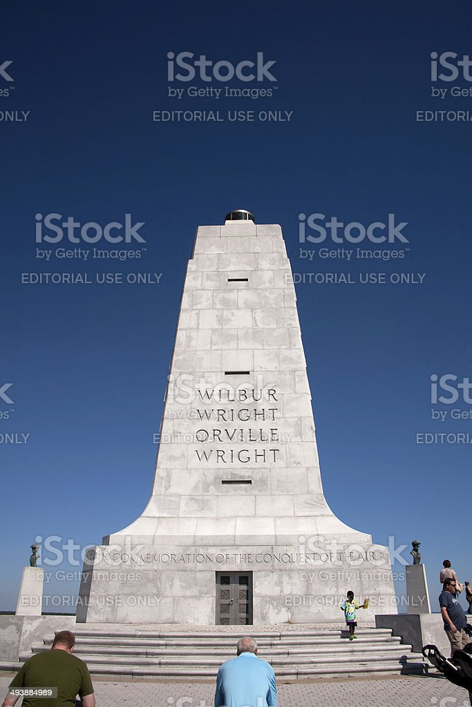 Tourists at Wright Brothers Monument stock photo